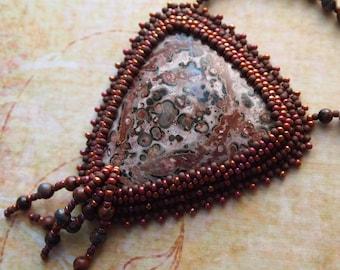 Bead Embroidery Leopard Jasper Boho Gypsy Tribal Necklace