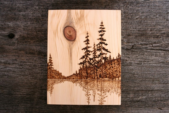 Waters Edge Wood Burned Landscape Art On Wood