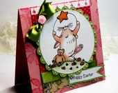 "Easter Card- Handmade Card Greeting Card 5.25 x 5.25"" Happy Easter Penny Black Bunnies Stationery 3D Card - OOAK"