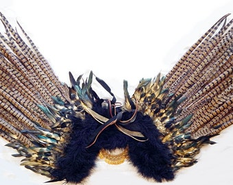 Runway Model TIGER Feather WINGS HUGE Pheasant Feathers Costume Wings 60X34