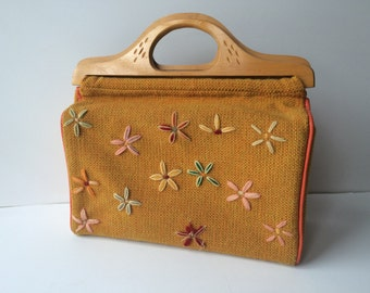 Vintage 1960s/70's Tweed Knitting Crochet Craft Bag ~ Carry Storage Case ~ Wood Handles ~ Crewel Embroidered Flowers