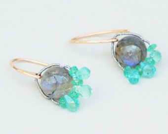 Labradorite, Apatite and Emerald Earrings