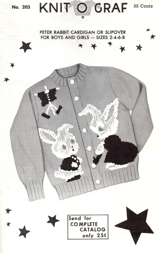 Knitting Pattern For Peter Rabbit Jumper : KNIT-O-GRAF No. 203 Peter Rabbit Cardigan or Slipover