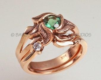 WILD TRILLIUM Engagement Ring, Wedding ring set, Choice of 14k gold, Yellow, Rose, White, Made to order,