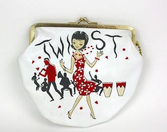 Vintage 60s Party Clutch Purse Twist & Shout Party White Purse w Black Headed Girl Novelty purse