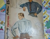 """Vintage 1940s or 50s Simplicity Pattern 1952, Men's Shirt with Detachable Collar Option, Size 15 1/2, Chest 40"""""""