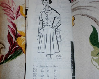 Vintage 1980s Mail Order Pattern 1328 for Misses Dress Size 18 1/2, Factory Folds