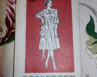 Vintage 1980s Mail Order Pattern 4104 for Misses Dress Size 12 1/2 - 18 1/2, Factory Folds