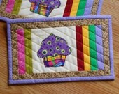 QUILTED CUPCAKE MugRug SET, Snack Mat Set or Mini Placemat Set of Two in Rainbow colors measuring 7 x 11 inches