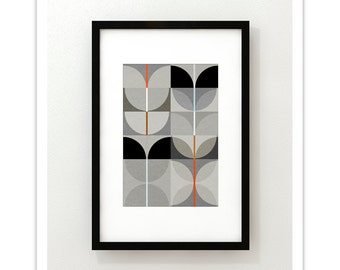 NIGHT SWAN no.4 - Abstract Mid Century Modern Design Art Print