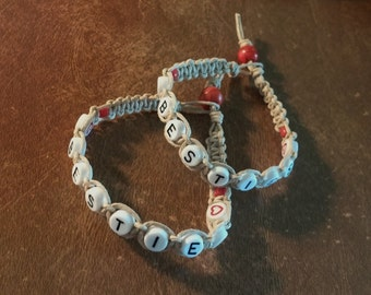 Natural Hemp Besties Friendship Bracelets 2 Red Glass and White Plastic Alphabet Beads Red Beads, Handmade