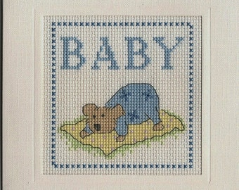Cross Stitch Keepsake New Baby Card Blue Finished Completed
