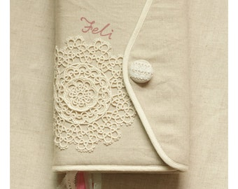 Bible cover, Journal Cover  in  linen with white lace ,crochet,linen,cotton, custom made