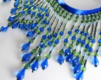 Bright Peacock Blue and Green 5.5 inch Long Beaded Fringe Trim for Craft of Home Decorator Beaded Trim