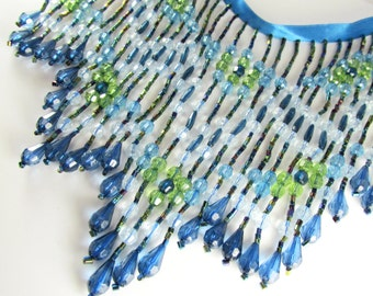 1 yard 6 inch Precut Piece Shades of Blue and Green 6 inch Long Beaded Fringe or Decorator Trim