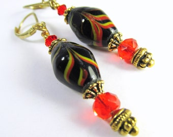 Red Black and Gold India Lampwork Glass Earrings on Gold Leverbacks
