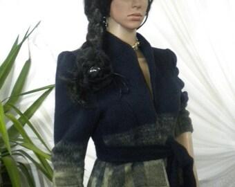 Elegant ladies' short coat - bolero  cashmere  with lining