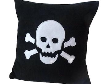 Black Skull fleece applique cushion pillow
