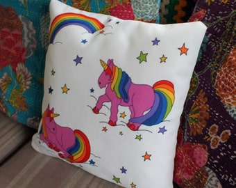 Pink unicorn cushion cover scatter cushion