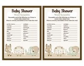 "Adorable ""Sleepy Safari Animals"" Baby Shower Word Scramble Game 5x7 Printable/Digital File"