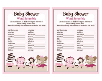"Adorable ""Tutu Cute/Ballerina Animals"" Baby Shower Word Scramble Game 5x7 Printable/Digital File"