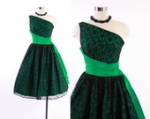 Vintage 50s Cocktail DRESS / 1950s One Shoulder Bright GREEN & Black LACE Party Dress S