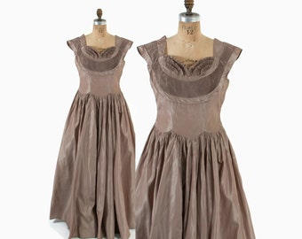 Vintage 50s Party DRESS / 1950s Taupe Beige Taffeta Pleated Ball Gown L