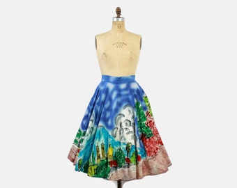 Vintage 50s SKIRT / 1950s Mexican Hand Painted Full Circle Rockabilly Skirt XS - M