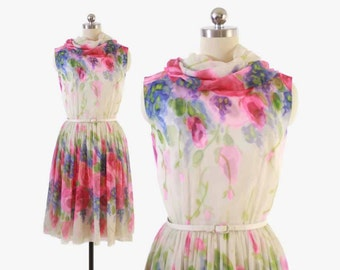 Vintage 50s PARTY DRESS / 1950s Floral Silk Chiffon Belted Dress with Scarf Xs - S