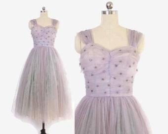 Vintage 50s PARTY DRESS / 1950s Beaded Starburst Lavender Cupcake Tulle Full Skirt Gown S