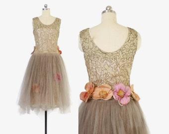 Vintage 20s Party DRESS / 1920s Metallic Trim Lace & Net Tulle Floral Robe De Style S