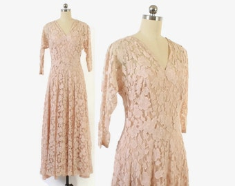 Vintage 30s Lace Dress / 1930s Palest Pink Lace Bias Cut Bridal Wedding Evening Gown S - M