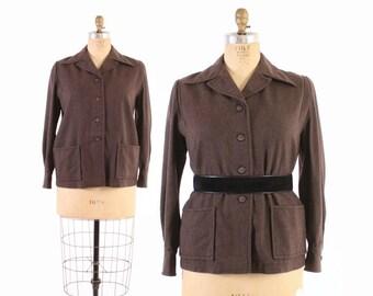 Vintage 60s 49er JACKET / 1960s Rare Solid Heather Brown PENDLETON Jacket L