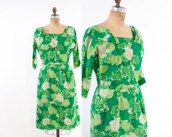 Vintage 60s DRESS / 1960s Bright GREEN SILK Floral Wiggle Cocktail Dress M