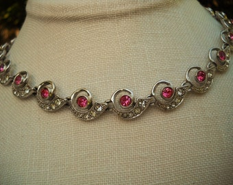 SALE Rare vintage ORA pink crystal rhinestone necklace art deco design Free Shipping