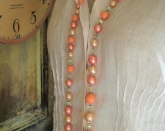 1950s pink pearl ab crystal extra long 46 inch necklace graduated Free Shipping