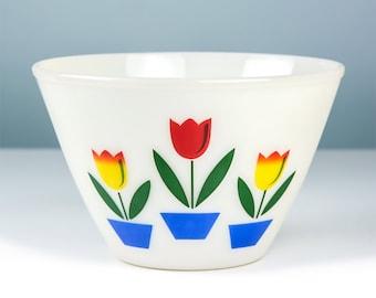 Vintage Anchor Hocking Glass Fire King Tulip Bowl, Large Fireking, Antique Glass Serving Dish, Ovenware, Vintage Kitchen