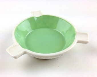 Small Pressed Milk Glass and Mint Green Ashtray