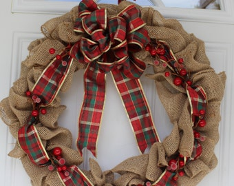 Burlap wreath, rustic wreath, Christmas Wreath, Christmas Decoration, holiday wreath, outdoor wreath, plaid ribbon wreath, door hanging