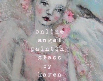 online large angel painting class FADED WINGS ... karen milstein