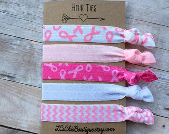 Boutique Elastic Hair Ties Breast Cancer Awareness Ribbon Pink 5 pack - awesome gift