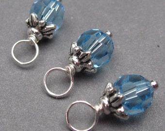 Aquamarine Swarovski Crystal Birthstone Charms, Stitch Markers, Interchangeable Jewelry, Bead Dangle, Wire Wrapped Dangles, March Birthstone