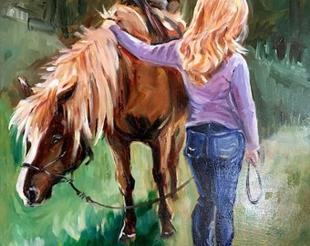 Horse and Rider Painting in Oil on Gessoboard