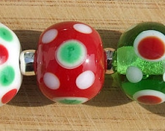 Merry and Bright - lampwork bead set