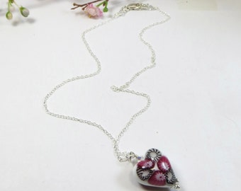 Murano Venetian Heart Necklace, Pink White Millefiore Venetian Murano Heart Pendant Necklace w Swarovski & Sterling, Pink White Heart