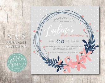 Communion, Baptism, Bridal or Baby Shower Invitation - Navy, Pink and Grey Dots & Floral -  by Beth Kruse Custom Creations