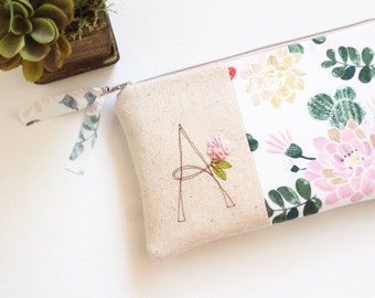 Bridesmaid Gift, Succulent Womens Clutch, Floral Wedding Clutch, Monogram Clutch, Gift for Wedding Party, YOUR FABRIC CHOICE Made to Order
