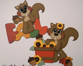 Fall Squirrels paper piecing for scrapbook pages