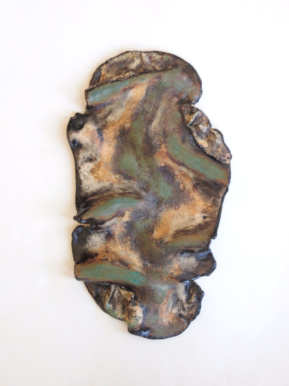 Wall Decor With Clay : Free form ceramic wall hanging earthy clay art abstract