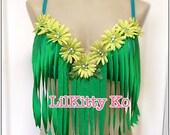 Custom Order for Jaycee - Green Daisy fringe bra